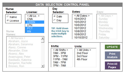 Nursing Time Study Data Selection Control Panel